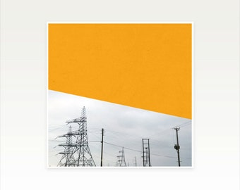Abstract Photography, Industrial Art, Abstract Photography, Minimal Orange and Grey Wall Decor - Orange Pylons