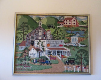 Reduced..Wonderful hand stitched Charles Wysocki Budzens Fruits & Vegetables framed needlepoint- great condition, ready to hang