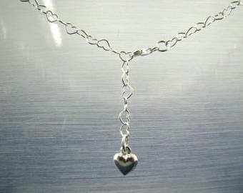 37 inch Belly Chain Necklace with Dangling Silver Heart, Adjustable, 925 Sterling Silver, Layering Chain Long Necklace