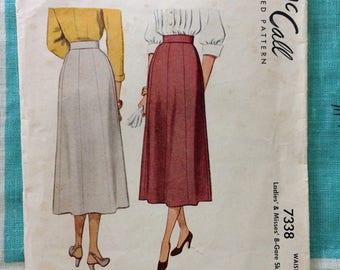 Vintage 1948 McCall 7338 8 gore skirt pattern 28 waist