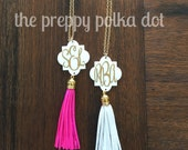 Monogram Tassel Necklace - Pink, White or Royal Blue with Gold