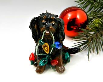 Cavalier King Charles Spaniel Black Tan Christmas Ornament Porcelain