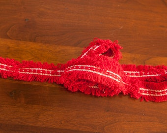 Cute Fringe - 2.25 yards Vintage Trim New Old Stock 60s 70s Festive Red