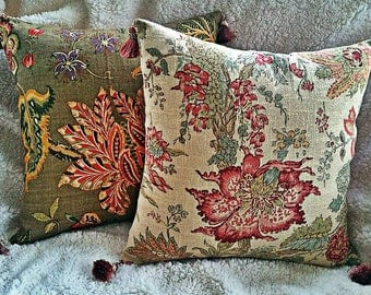 20 x 20 Pillow Cover with Insert-Decorative Pillow-Throw Pillow-Brown Floral Pillow