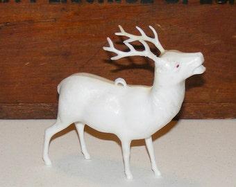 Vintage Irwin White Plastic Reindeer Deer Figure Ornament