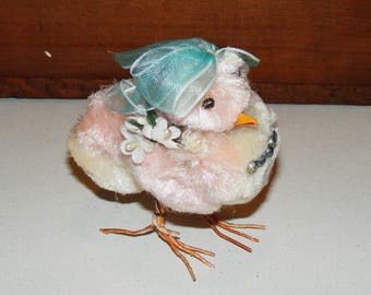 Vintage Big Pink Pom Pom Chenille Chick wearing Millinery Flowers Wire Feet