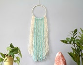 Color Block Wool Wall Hanging. Bohemian Modern Wall Decor. Mint Nursery Decoration. Handcrafted by Ordinary Mommy Design