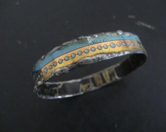 Recycled Tin Bangle Bracelet No. 8 - Medium Size - Turquoise and Black