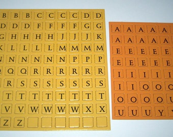 Gold and Orange Cardboard Letter Game Tiles for Altered Art, Collage, Scrapbooking, etc.
