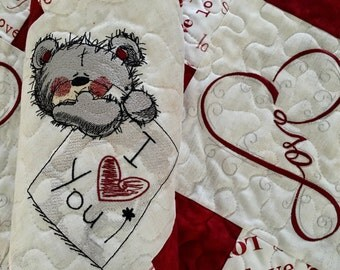 Quilted Valentine Table Runner  . . .L O V E    . . . Embroidered BEAR . . . Seasonal Table Decor