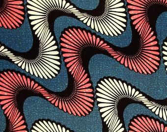African Fabric 1/2 Yard Cotton Wax Print BLUE PINK White BTHY