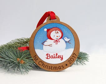 Baby's First Christmas Ornament Personalized Hand Embroidered Snowman Snowbaby Custom Holiday Keepsake 2017