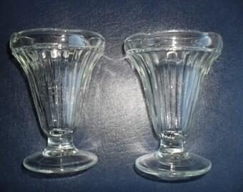 Soda Fountain Ice Cream Sundae Milk Shake Glasses set of 2 Vintage