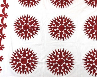 Incredible Red and White Mariners Compass QUILT TOP Great Hand Applique borders