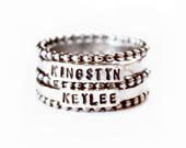 Ring - Mothers Stacking Ring Set - Sterling Silver Child's Name Rings - Name Stamped Mother's Day Ring - Grandchildren Family Kids Stacked