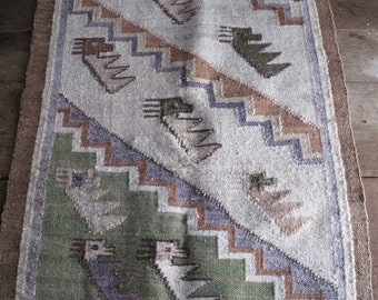 Sale - 30% - Vintage Wool Mexican Throw Rug - Animals -  Brown Purple