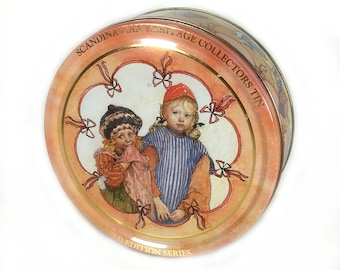 "Pretty Swedish Tin - Design by Carl Larsson,  Scandinavian Heritage Collection Series, Two Little Girls, ""Carpenter Hellberg's Children"""