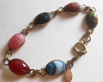 Russel Scarab Bracelet Egyptian Revival Six Carved Beetle Bugs Signed Metal Tag Multi Colored Gem Stones Gold Filled 1950's