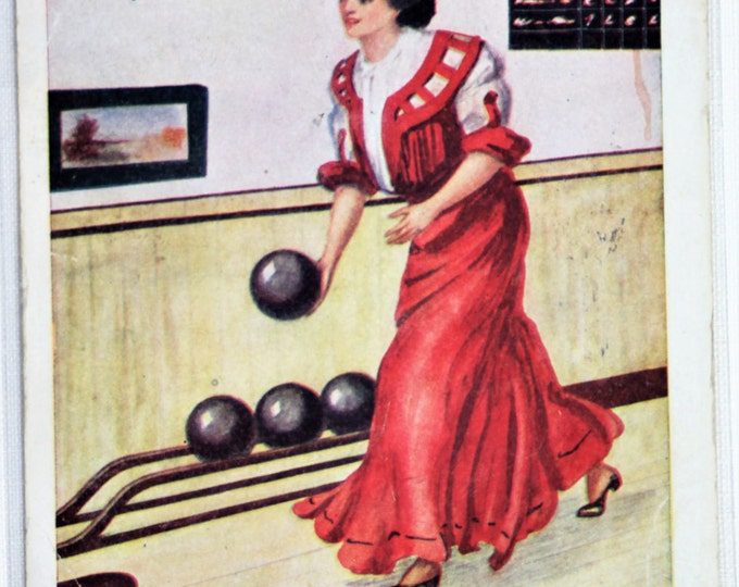 Featured listing image: P-105 Bowling Lady Postcard with Signature
