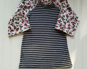 Size 2T Upcycled T Shirt dress. Pink flowers and Stripes