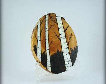 Wood-burned Art, Wood Slice Carved and Painted, Tree Branch, Birch Forest Art, FREE Domestic SHIPPING
