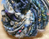 Handspun Corespun Worsted Weight Weaving Art Yarn in Smoky Blue with Wool Locks, Ribbon and Fiber Beads by KnoxFarmFiber for Embellishment