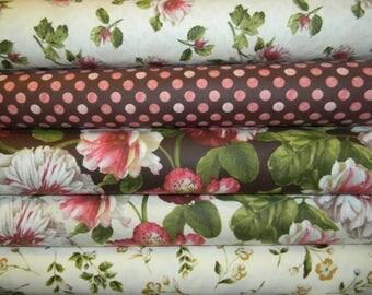 Half Yard Bundle of 5 Top Quality Flannel Cotton Fabrics