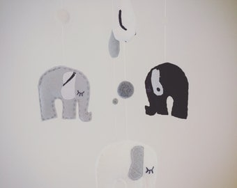 Monochrome Black, White & Grey Felt Elephant Mobile