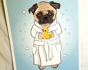 Bubbly Pug - 8x10 Eco-friendly Print - Fawn