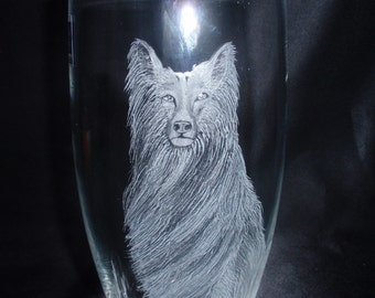 Collie Dog Art, Etched Collie, Hand Carved Collie, One of a Kind Collie Art, Dog Lovers Art, Collie Vase