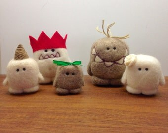 One Of a Kind Needlefelted Cashmere Yeti Family