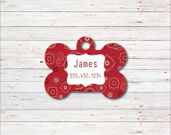 Dog Tag, Personalized Dog Tags, Dog ID Tag, Bandana, Hankerchief, Personalized Dog Tag, Gift for Dog Lover, Male, Female, Red