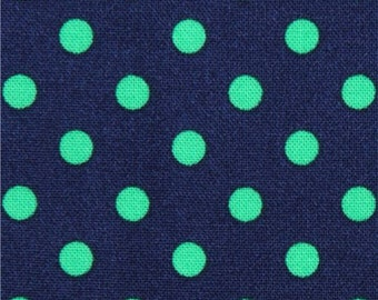 202506 navy blue Michael Miller fabric small green polka dots
