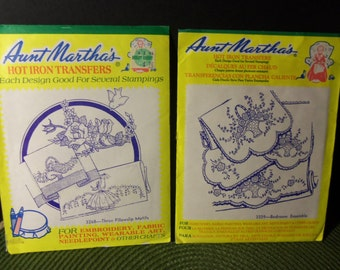 Aunt Martha's Hot Iron Transfers Bedroom Ensemble 3339 & Three Pillowslip Motifs 3268