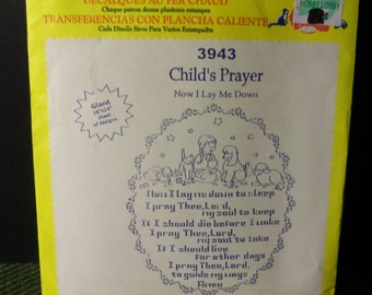 Vintage Aunt Martha's Hot Iron Transfer 3943 Chil'd Prayer