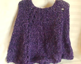 Ready to Ship. Little Girl's Poncho. Soft Hand Knit High Quality Acrylic Polyester Blend. Deep Dark Purple. Gothic. Knit Poncho. Knit Cape.