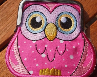Owl kiss lock coin purse, metal frame purse, small makeup purse , kisslock wallet