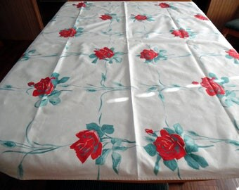 Vintage Red Rose Tablecloth 48 X 54 Inches Heavy Cotton Fabric ECS SVFT