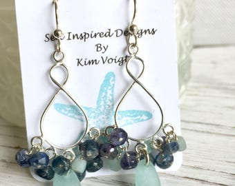 Sea Glass Chandelier Earrings Sterling Silver Boho