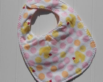 READY TO SHIP 100% cotton flannel baby bib - pink duck / rubber duckie print