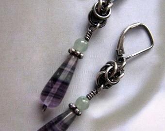 Fluorite Dangle Earrings, Sterling Silver Dangle Earrings, Handmade Sterling Silver Earrings, Purple Fluorite Gemstone Earrings