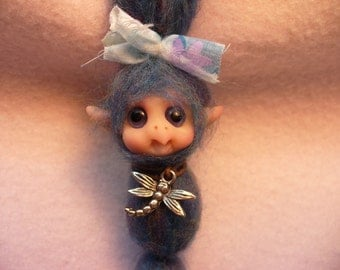 Hanging partial sculpt elf fairy original new polymer clay sculpture from Hob Knobby Hollow One of a Kind by one USA artist Lori Marple