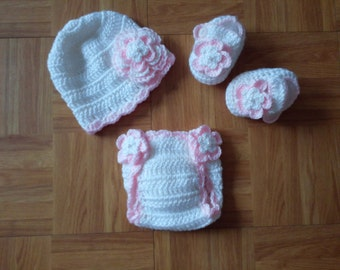 Baby Girl Infant Girl Crochet Hat Beanie Booties Diaper Cover Baby Shower Gift Photo Prop 10001 MADE TO ORDER