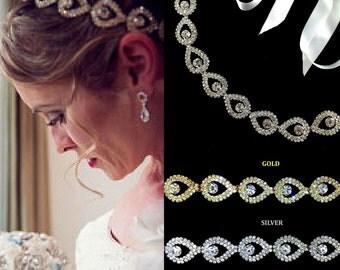 Crystal Bridal Tiara, Crystal Crown, Rhinestone Headband, Hair Wreath, Boho Headpiece, Gold or Silver Wedding Headband, Gift for Her, NIKITA