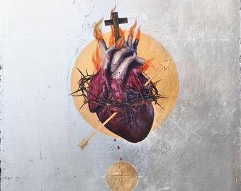 The Sacred Heart of Jesus: The Golden Arrow -metallic print