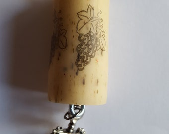 Wine Cork Keychain with Charm