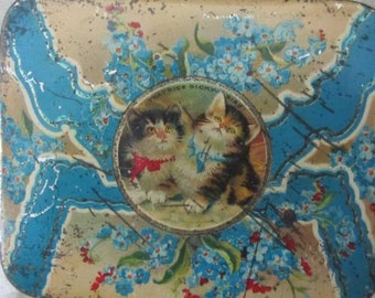 What Nice Dickie Bird -Antique Tin Featuring Kittens and Forget Mr Nots - Early 1900s - Edwardian