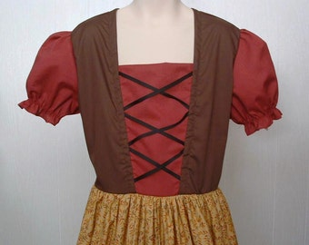 Historical Dress up Theater Play Medieval Maypole Renaissance Faire  Girls Size 10/12 Peasant Costume Sound of Music Heidi  Ready to Ship