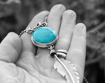 LAST CHANCE Turquoise and sterling silver Feather, rustic bohemian long necklace - Journey over Water -