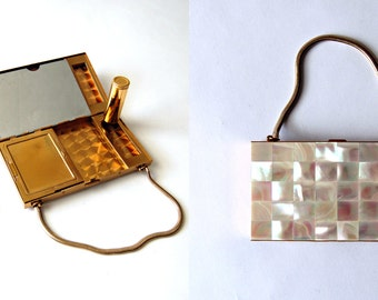Mother of Pearl Carry All Case // Cigarette Case and Makeup Compact Purse